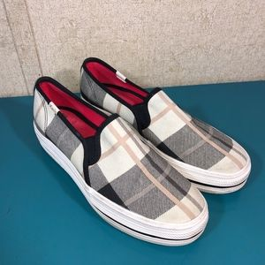 Kate Spade x Keds Platform Plaid Slip On Sneakers